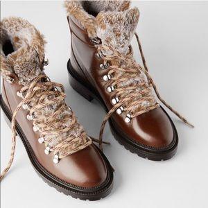 Zara Faux Fur Trimmed Hiking Boots